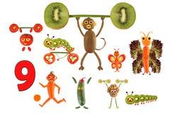 Αριθμοί κινούμενων σχεδίων των λαχανικών και των φρούτων, απεικόνιση Educa Στοκ εικόνα με δικαίωμα ελεύθερης χρήσης