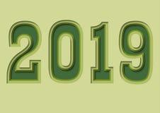 Αριθμοί νέου έτους 2019 διανυσματική απεικόνιση