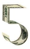 Αριθμοί πέντε δολάρια Στοκ εικόνες με δικαίωμα ελεύθερης χρήσης