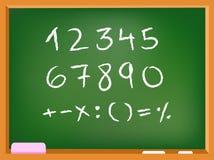 Αριθμοί πινάκων κιμωλίας Στοκ Εικόνα