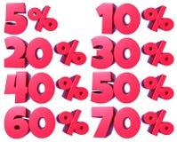 Αριθμοί ποσοστού στο κόκκινο για τις πωλήσεις έκπτωσης, για τα εμβλήματα και τις προθήκες, για τον Ιστό και την τυπωμένη ύλη, με  ελεύθερη απεικόνιση δικαιώματος