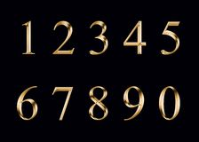Αριθμοί, που απομονώνονται χρυσοί Στοκ φωτογραφία με δικαίωμα ελεύθερης χρήσης