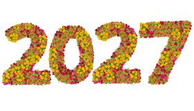 Αριθμοί 2027 που γίνεται από τα λουλούδια Zinnias Στοκ φωτογραφίες με δικαίωμα ελεύθερης χρήσης