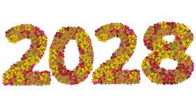 Αριθμοί 2028 που γίνεται από τα λουλούδια Zinnias Στοκ φωτογραφίες με δικαίωμα ελεύθερης χρήσης