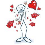 Αριθμοί ραβδιών με τις πεταλούδες στις κοιλιές, τις καρδιές και τα φιλιά τους διανυσματική απεικόνιση