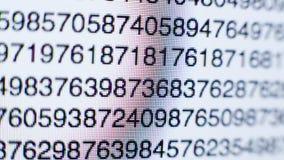 Αριθμοί σε μια οθόνη υπολογιστή απόθεμα βίντεο