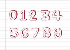 Αριθμοί 0-9 σκίτσων Στοκ φωτογραφία με δικαίωμα ελεύθερης χρήσης