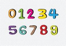 Αριθμοί 0-9 σκίτσων Στοκ εικόνα με δικαίωμα ελεύθερης χρήσης