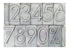 Αριθμοί στον εκλεκτής ποιότητας τύπο μετάλλων Στοκ Φωτογραφίες