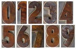 Αριθμοί στον ξύλινο τύπο Στοκ Φωτογραφία
