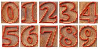 Αριθμοί στον περιγραμμένο letterpress τύπο Στοκ εικόνα με δικαίωμα ελεύθερης χρήσης