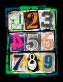 αριθμοί των διαφορετικών χρωμάτων, μπλούζα γραφική διανυσματική απεικόνιση