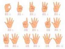 Αριθμοί χειρονομίας χεριών Ο ανθρώπινοι φοίνικας και τα δάχτυλα παρουσιάζουν διαφορετική απεικόνιση κινούμενων σχεδίων αριθμών δι ελεύθερη απεικόνιση δικαιώματος