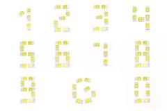 Αριθμοί Simcard που απομονώνονται στο άσπρο υπόβαθρο Στοκ εικόνες με δικαίωμα ελεύθερης χρήσης
