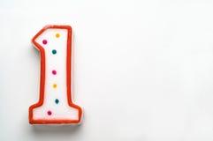 Αριθμός ένα κερί κέικ στοκ εικόνες