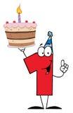 Αριθμός ένα που κρατά ψηλά ένα πρώτο κέικ γενεθλίων διανυσματική απεικόνιση