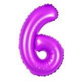 Αριθμός 6 έξι από την πορφύρα μπαλονιών Στοκ φωτογραφία με δικαίωμα ελεύθερης χρήσης