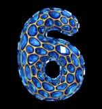 Αριθμός 6 έξι φιαγμένα από μπλε διαμάντι που απομονώνεται στο μαύρο υπόβαθρο τρισδιάστατος Στοκ Φωτογραφία