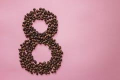 Αριθμός 8 από τα φασόλια coffe Στοκ φωτογραφία με δικαίωμα ελεύθερης χρήσης