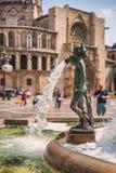 Αριθμός από την πηγή Turia Plaza de Λα Virgen, Βαλένθια, Ισπανία Στοκ εικόνα με δικαίωμα ελεύθερης χρήσης