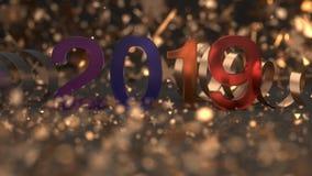 Αριθμός γυαλιού 2019 με το κομφετί και serpentine Ελεύθερη απεικόνιση δικαιώματος