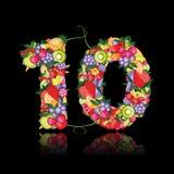 Αριθμός δέκα που γίνεται από τους καρπούς. απεικόνιση αποθεμάτων