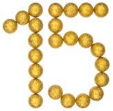 Αριθμός 15, δεκαπέντε, από τις διακοσμητικές σφαίρες, που απομονώνονται στο άσπρο BA Στοκ Εικόνα