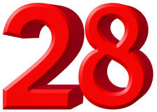Αριθμός 28, είκοσι οχτώ, που απομονώνονται στο άσπρο υπόβαθρο, τρισδιάστατο rende Στοκ Εικόνα