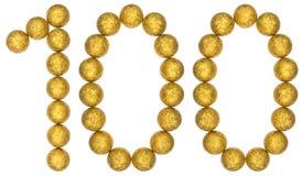 Αριθμός 100, εκατό, από τις διακοσμητικές σφαίρες, που απομονώνονται στο whi Στοκ Εικόνες