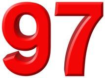 Αριθμός 97, ενενήντα επτά, που απομονώνονται στο άσπρο υπόβαθρο, τρισδιάστατο rende Στοκ Εικόνες