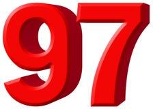 Αριθμός 97, ενενήντα επτά, που απομονώνονται στο άσπρο υπόβαθρο, τρισδιάστατο rende Στοκ φωτογραφία με δικαίωμα ελεύθερης χρήσης