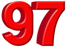 Αριθμός 97, ενενήντα επτά, που απομονώνονται στο άσπρο υπόβαθρο, τρισδιάστατο rende Στοκ Εικόνα