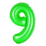 Αριθμός 9 εννέα από τα μπαλόνια πράσινα Στοκ Εικόνες