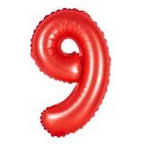 Αριθμός 9 εννέα από το κόκκινο μπαλονιών Στοκ εικόνες με δικαίωμα ελεύθερης χρήσης