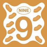 Αριθμός 9 εννέα, εκπαιδευτική κάρτα, υπολογισμός εκμάθησης διανυσματική απεικόνιση
