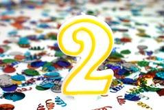 αριθμός εορτασμού 2 κεριών Στοκ Εικόνες