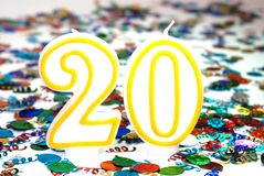 αριθμός εορτασμού 20 κεριών Στοκ Φωτογραφία