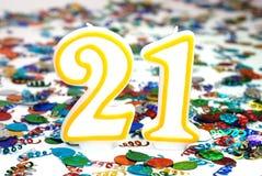 αριθμός εορτασμού 21 κεριών Στοκ φωτογραφία με δικαίωμα ελεύθερης χρήσης