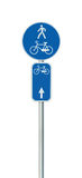 Αριθμός διαδρομών ποδηλάτων, ανακύκλωση και για τους πεζούς οδικό σημάδι παρόδων, μεγάλο λεπτομερές απομονωμένο κάθετο ποδήλατο κ Στοκ Φωτογραφία