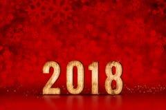 Αριθμός καλής χρονιάς 2018 κόκκινα snowflakes που λαμπιρίζουν bokeh lig Στοκ Εικόνες