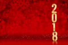 Αριθμός καλής χρονιάς 2018 κόκκινα snowflakes που λαμπιρίζουν bokeh lig Στοκ φωτογραφίες με δικαίωμα ελεύθερης χρήσης