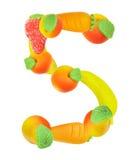 αριθμός καρπού 5 αλφάβητου Στοκ Εικόνες