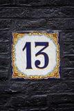 Αριθμός 13 κεραμίδι Στοκ φωτογραφίες με δικαίωμα ελεύθερης χρήσης