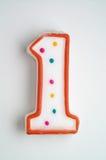 αριθμός κεριών κέικ ένας στοκ φωτογραφίες