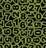 Αριθμός νέου σε πράσινο στο μαύρο υπόβαθρο Άνευ ραφής διανυσματικό κεραμίδι, τολμηρό cipher πηγών διανυσματική απεικόνιση