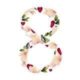 Αριθμός οκτώ με τα λουλούδια Στοκ εικόνα με δικαίωμα ελεύθερης χρήσης