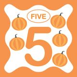 Αριθμός 5 πέντε, εκπαιδευτική κάρτα, υπολογισμός εκμάθησης ελεύθερη απεικόνιση δικαιώματος