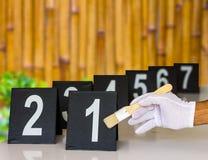 Αριθμός πιάτων απόδειξης με το μπαμπού Στοκ φωτογραφία με δικαίωμα ελεύθερης χρήσης