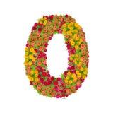 αριθμός 0 που γίνεται από τα λουλούδια Zinnias Στοκ Εικόνες