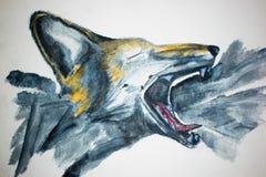 Αριθμός που κραυγάζει το δασικό watercolor απεικόνιση της κακής αλεπούς ελεύθερη απεικόνιση δικαιώματος